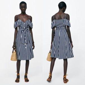 Zara Striped Off The Shoulder Dress